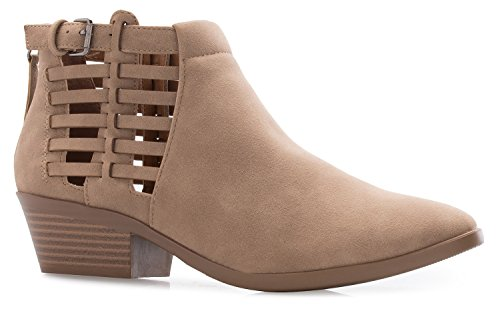 OLIVIA K Women's Western Ankle Boot- Cowgirl Low Heel Closed Toe Cut Out Style Casual Bootie – Comfortable Walking Slip on Boot