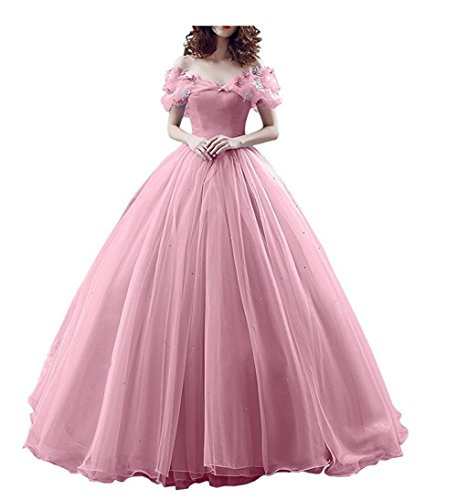Chupeng Women's Princess Costume Butterfly Off Shoulder Cinderella Prom Gown Wedding Dresses Evening Gown Quinceanera Dress Pink 18 ()