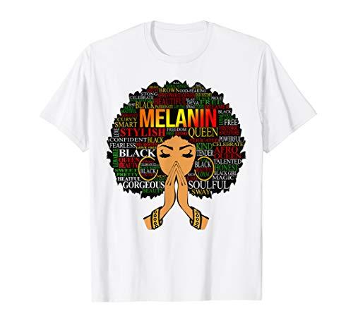 Melanin Words Art T-Shirt Afro Natural Hair Black Queen - Ethnic Graphic