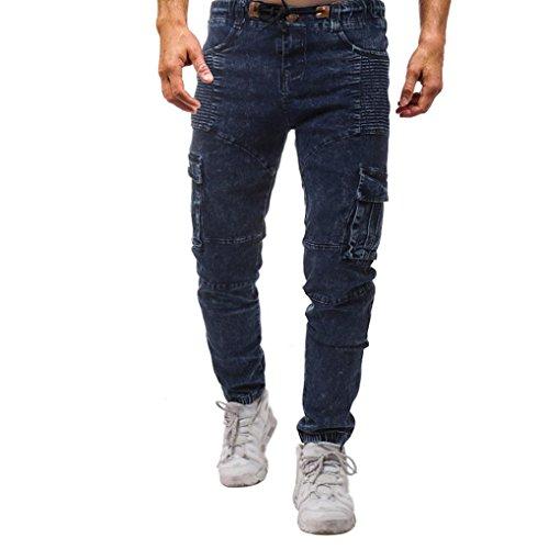 2018 de Alta Calidad de la Nueva Moda de los Hombres Pantalones de Color Sólido Sólido de la Elasticidad de los Hombres Ocasionales Jeans Pants Pantalon Hombre Azul