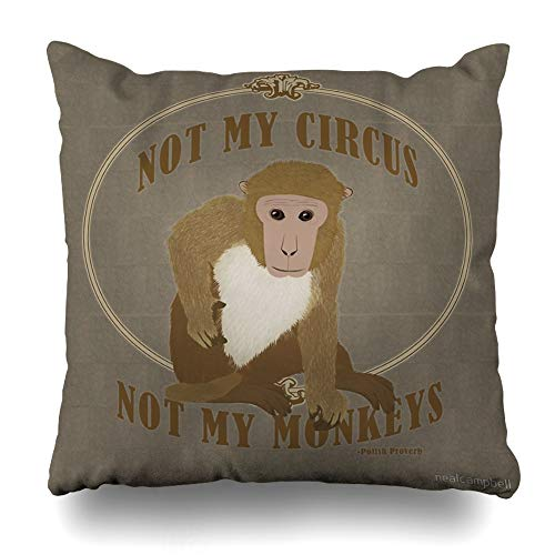 Ahawoso Throw Pillow Cover Square 20x20 Inches Not My Circus Not My Monkeys Polish Proverb Decorative Pillow Case Home Decor Pillowcase