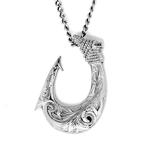 Hawaiian Fish Hook Necklace by Austaras - Necklace Pendant for Men and Women - 925 Sterling Silver Hypoallergenic Jewelry with Chain Made of 316L Stainless Steel
