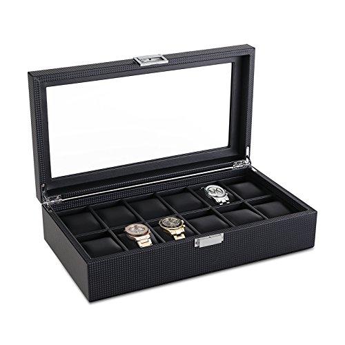SWEETV Watch Box for Men - Carbon Fiber Watch Display Case Storage Organizer, Glass Top, Black
