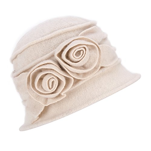 Lawliet 1920s Gatsby Womens Flower Wool Warm Beanie Bow Hat Cap Crushable A287 (White) ()