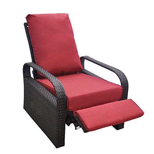 Cheap Outdoor Resin Wicker Patio Recliner Chair with Cushions, Patio Furniture Auto Adjustable Rattan Sofa, UV/Fade/Water/Sweat/Rust Resistant, Easy to Assemble (Red)