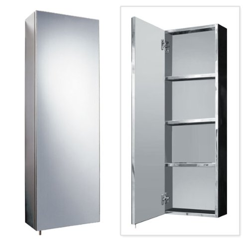 Bathroom Cabinet Storage 900 x 300 Stainless Steel Wall Mounted Furniture Recessed Hung Tall Large Modern Designer Glass Single Door with White Edge Better Bathrooms Outlet