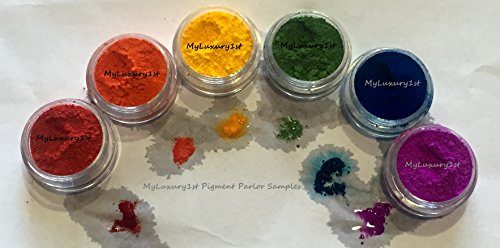 LOT of 6- 2g Gram JAR Bath Bomb Sample Cp Mp Hp DIY Test Lip Stain RED Orange Yellow Green Blue Purple Dye Colorants Lip Safe Matte Cosmetic Soap Making Pigment Powder (Safe Lip)