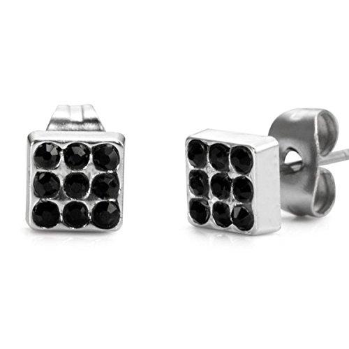 GreatMate Jewelry Male Gay Pride Symbol Stainless Steel Stud Earrings for Men Black