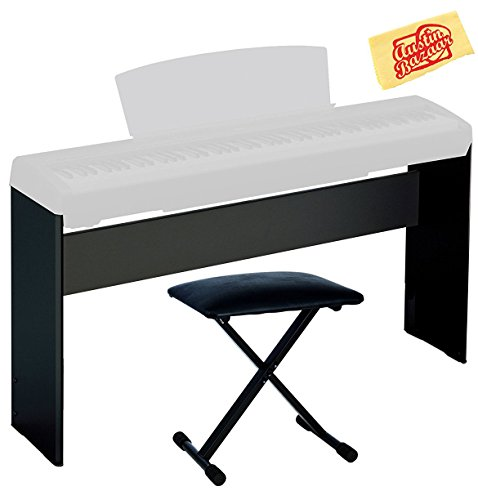Yamaha L-85B Furniture Stand for P-35, P-45, P-85, P-95, P-105, P-115 Digital Piano - Black Bundle with Adjustable Bench and Austin Bazaar Polishing Cloth