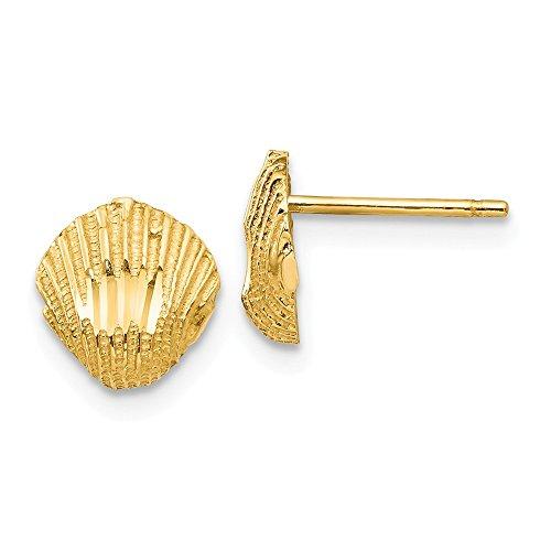 8mm Diamond Cut Seashell Post Earrings in 14k Yellow Gold ()