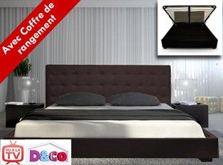 lit capitonn sleepfield marron lit avec sommier relevable 160x200 - Lit 160x200 Avec Sommier
