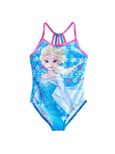 Disney Frozen Elsa Girls One Piece Swimwear Swimsuit (5-6, Blue) (One Piece Swimsuit Disney)