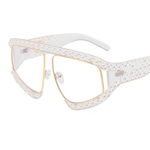 ZYXCC de de Sol Decoración YANJING Perlas Sol Blanco Personalidad de de Mujer de de Gafas la Gafas de Color de UV Protección la Sol Sol Verde Gafas Remaches de Gafas 6HHq5F