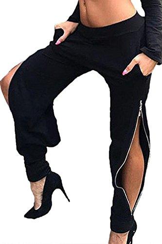 Zilcremo Les Pantalons Taille Haute, avec Fermeture  Glissire Pleine Longueur. Black
