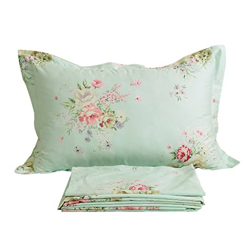 - FADFAY Green Floral Bed Sheet Set Cotton Sheets 4-Piece King Size