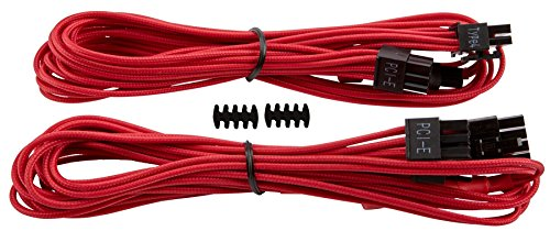 Corsair CP-8920174 Premium Individually Sleeved PCIe Cables with Single Connectors, Red, for Corsair PSUs