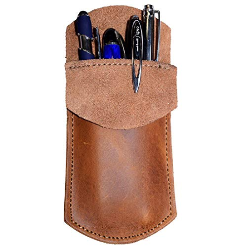 Durable Leather Pocket Protector/Pencil Pouch/Office & Work Essentials Pen Holder Handmade by Hide & Drink :: Single Malt Mahogany