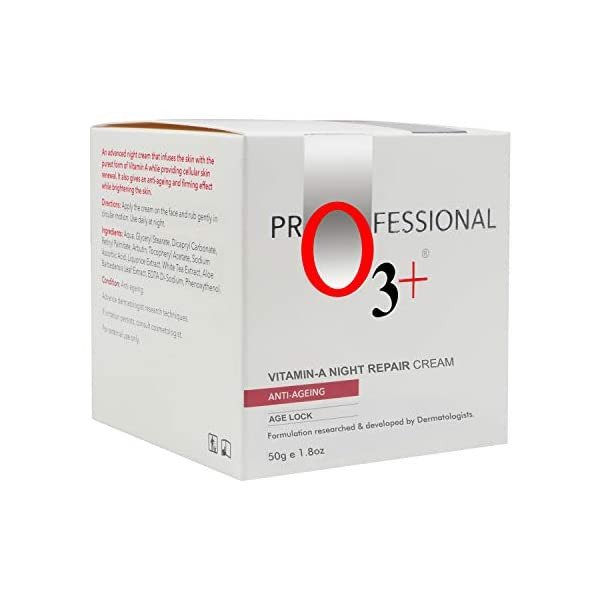 O3+ Vitamin A Night Repair Face Cream Anti Ageing Wrinkle Filler Deep Moisturizer for Acne Removal & Even Skin Tone, 50g 2021 July Enriched with the purest form of Retinol, Vitamin A. Soothes face & ensures that your skin has an even complexion along with a finer skin texture. Suitable for all skin types, Normal to dry skin.