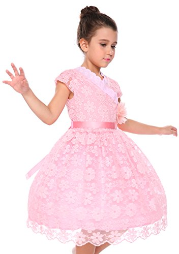 Arshiner Kids Flower Girls Cap Sleeve Elegant Embroidery Floral Lace Wedding Party Ball Gown Dress