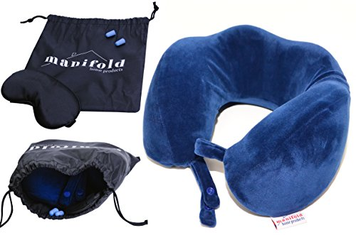 Manifold Home Products Memory Foam Travel Pillow — Better Support than an Inflatable Neck Pillow — FREE Bonus Eye Mask and Earplugs (Satin Soft Train)