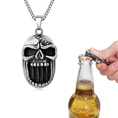 U365 Men's Heavy Huge Skull Biker Pendant Gothic Punk Vintage Stainless Steel Mens Pendant Beer Bottle Opener for Men with 27.5 Inches Chain