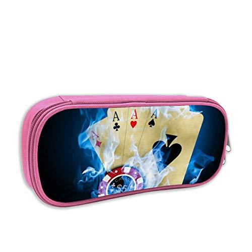 (Blue Flame Burning Gamble Casnio Ace Poker Pencil Case 3D Printed Pen Holder Student Box Unisex Zipper Boy Girl Kids)
