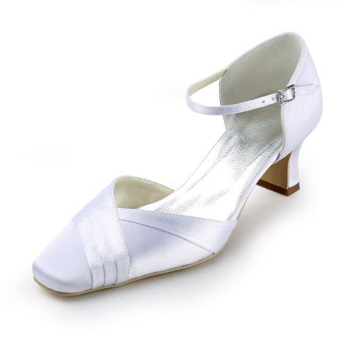 Elegantpark Women Square Toe Wide Mid Heel Cinturini Alla Caviglia In Raso Scarpe Da Sera Da Sposa In Avorio Incrociato