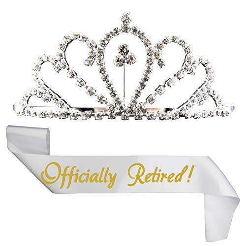 JPACO Retirement Sash and Tiara - Rhinestone Tiara & Officially Retired Sash for Retired Event & Work Party, Novelty Gift for Men and Women