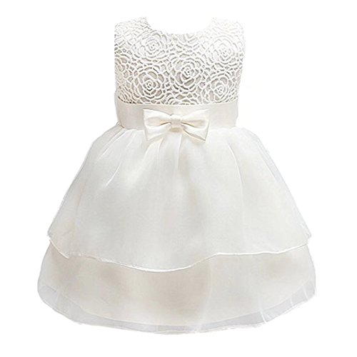 - ADHS Infant Newborn Kids Baby Girl Pageant Bridesmaid Lovely Evening Costume(Ivory,12-18M)