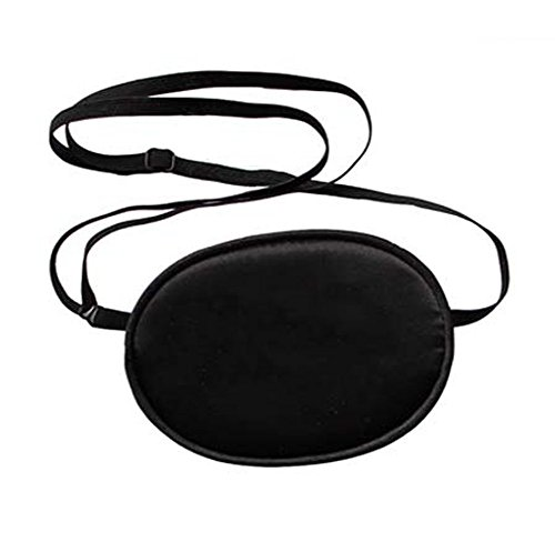 2 Pcs Adjustable Silk Pirate Eye Patches Black Soft and Comfortable Single Eye Mask for Adult Kids' Amblyopia Strabismus Lazy Eye (Adult Size) by ASTRQLE