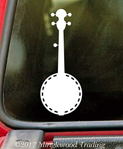 "Minglewood Trading White - Banjo 5"" x 2"" Vinyl Decal Sticker - Bluegrass Country Music Picking - 20 Color Options"