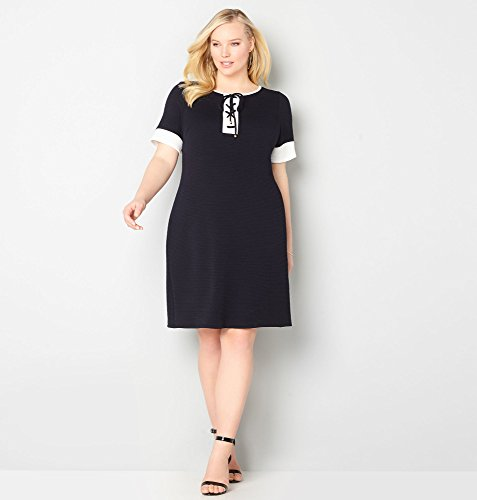 AVENUE-Womens-Navy-Lace-Up-Dress