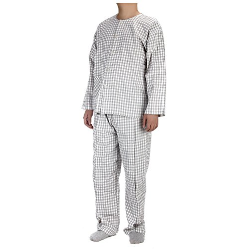 Nursing Home Gowns - Patient Gown Mens Hospital Gowns Adaptive Clothing Home Care Nursing Supplies for Post Surgery, Disability and More (Gray Plaid-XL)