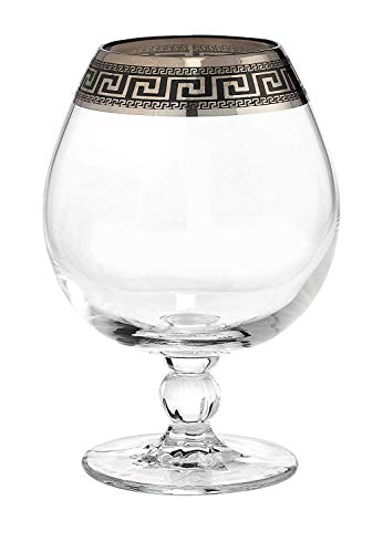 (Joseph Seigh GPC1264-1786, 17 Oz Hand Made Cognac Snifter w/Silver Platinum Ornament, Whiskey Brandy Glasses w/Greek Key Design Rim, Set of 6)