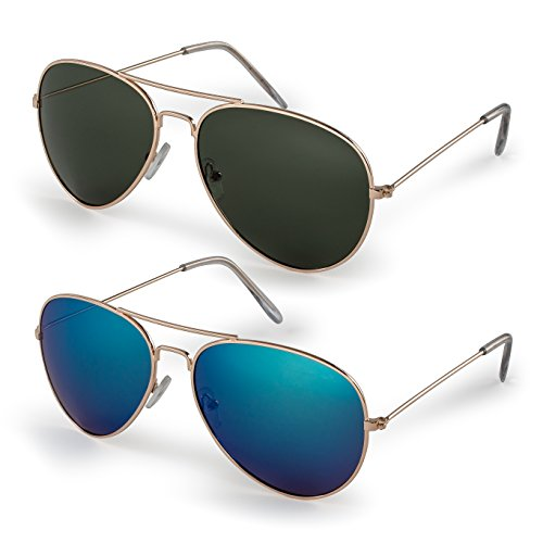 (Stylle Classic Aviator Sunglasses with Protective Bag, 100% UV)