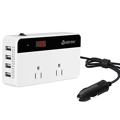 Quesvow 200W Car Power Inverter DC 12V to 110V AC Converter with 4 USB Ports Charger-White - Car Power Plug