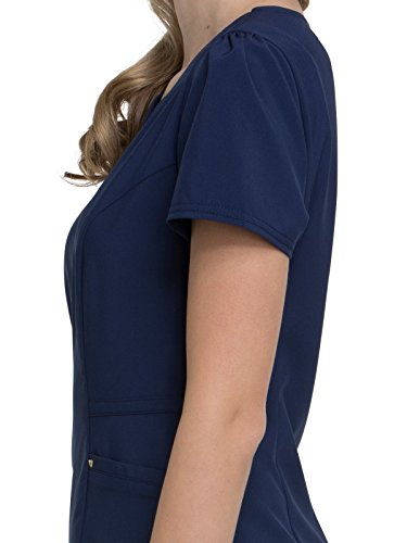 HeartSoul Love Always by Women's V-Neck Solid Scrub Top Small Navy by HeartSoul (Image #3)'