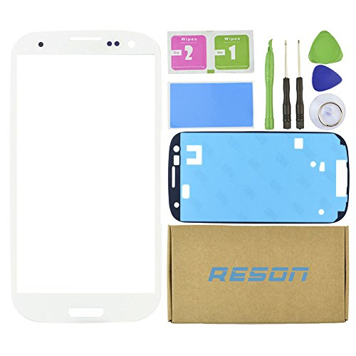 Reson® White Replacement LCD Screen Glass Lens Repair Kits for Samsung Galaxy S3 I9300 I747 T999 I535 +Tools Kit+dry/wet/dust Cleaning Paper+adhesive Sticker Tape