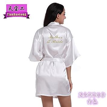 Wanglele La Novia Vestido De Novia Pajama Party Maquillaje Sello Bata Albornoz,Blanca,L: Amazon.es: Hogar