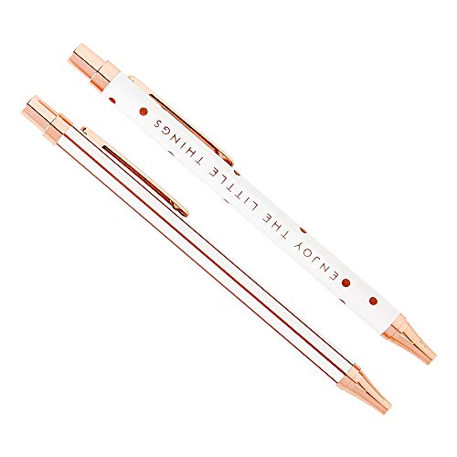 (kikki.K Retractable Ballpoint Pens - Essential 2 Pack Plus Presentation Box - Rose Gold and White - Black Ink)