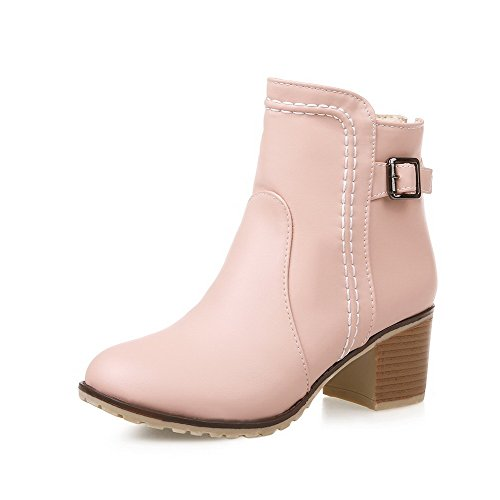 Closed Kitten Solid Heels Zipper Boots Pink Women's Material Allhqfashion Round Soft Toe wESqOxxapI