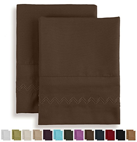 Soft Pillowcase Set - Brushed Microfiber Luxury Comfort - 1800 Thread Count Bedding Linens - Standard Size - Dark Brown- Embroidered Design - 2 Pack - Victoria Collection by Jessie Porter