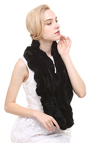 Knitted Rabbit (Vogueearth Women'Real Knitted Rabbit Fur Winter Warmer Scarf Black)
