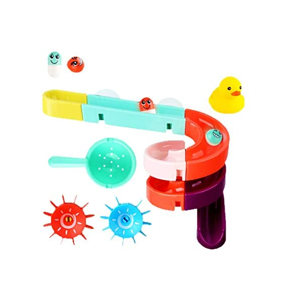 House of Queens 24pcs Free Combination of Track Bath Toy with Floating Duckling and Scooper Watermill Toy Bath Time DIY