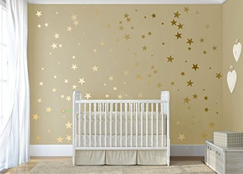 120 Gold Metallic Stars Nursery Wall Stickers, Gold Wall Decals, Home  Decor, Vinyl