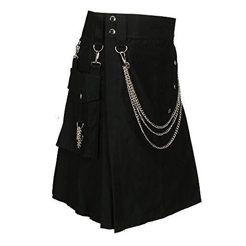 Scottish Black Fashion Utility Kilt With Silver Chains (Belly Button Measurements ()