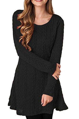 Mulisky Women's Crewneck Knitted Long Sleeve Sweater Dress A-Line Tunic Black M
