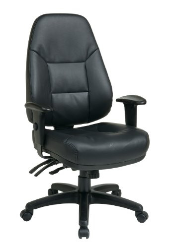 Office Star Deluxe Multi Function High Back Eco Leather Office Chair with Ratchet Back and 2-Way...