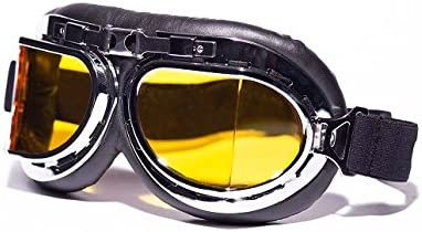 CRG Vintage Aviator Style Split Lens Motorcycle Goggles – Black Padding – Chrome Frame – Yellow Lens