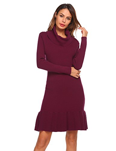 Zeagoo Women's Vintage Cowl Neck Long Sleeve Slim Fit Ruffle Casual Mini Sweater Dress(Rose Red, L)
